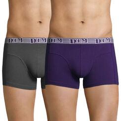 Lot de 2 boxers violet auburn et gris EcoDIM coton stretch, , DIM