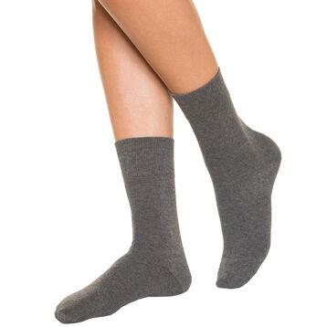 Chaussettes anthracite pour Femme Pur Coton, , DIM