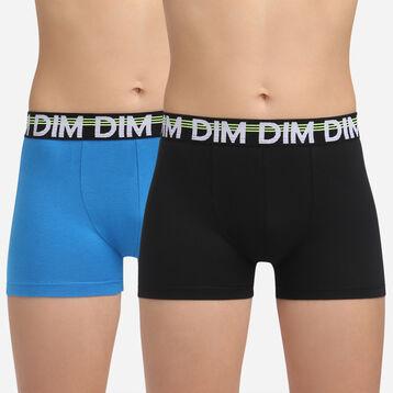 Lot de 2 boxers Noir et Marine pour garçon en coton stretch Eco Dim 3D, , DIM
