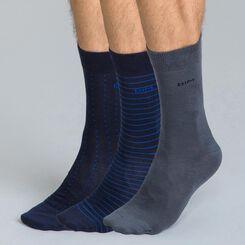 Lot de 3 chaussettes rayées et pois bleues et grises Homme-DIM