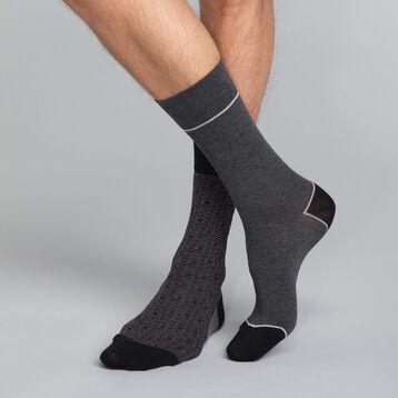 Lot de 2 mi-chaussettes Homme gris motif triangle - Coton Style, , DIM