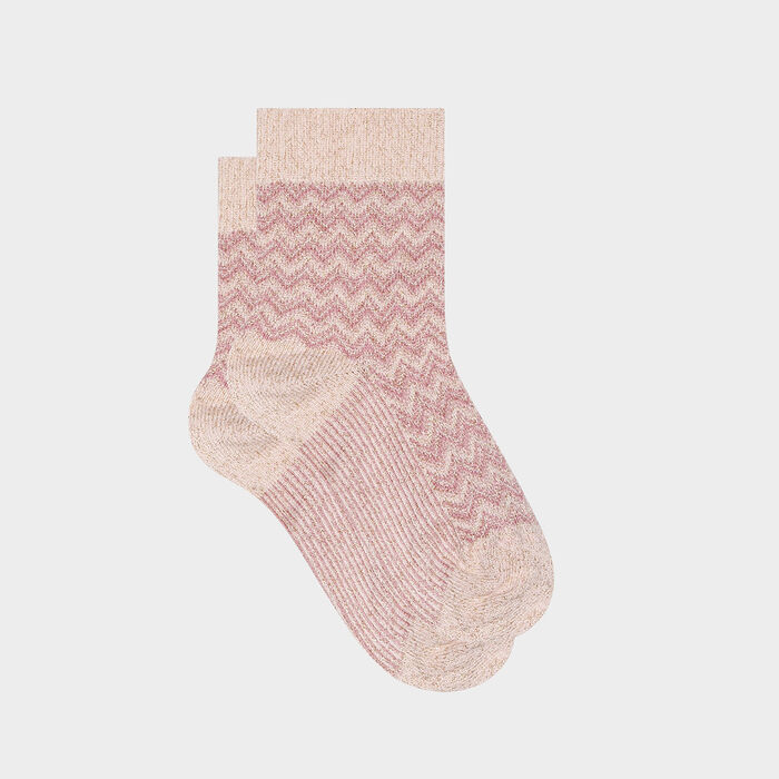 Chaussette femme en coton à motifs chevrons lurex Rose Made in France, , DIM