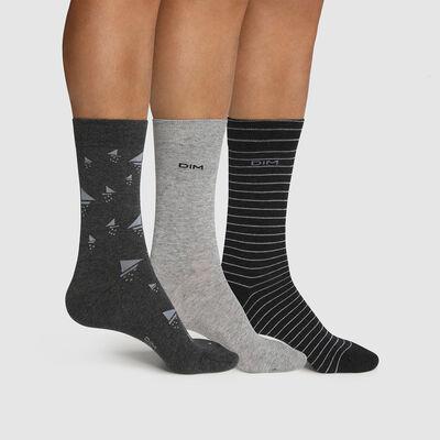 Lot de 3 paires de chaussettes homme motif bateau Gris Coton Style, , DIM