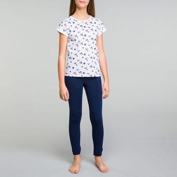 Pyjama fille 2 pièces pantalon bleu imprimés fleurs - Stripes, , DIM