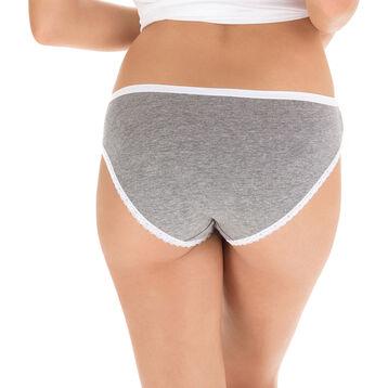 Lot de 2 slips gris et blanc Les Pockets Coton Fantaisie-DIM