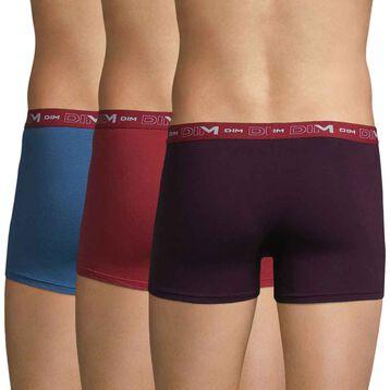 Lot de 3 boxers violet, bleu et rouge Coton Stretch-DIM
