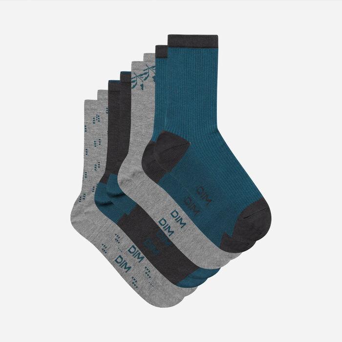Lot de 4 paires de chaussettes femme en coton Gris Lapis Lazuli Dim, , DIM