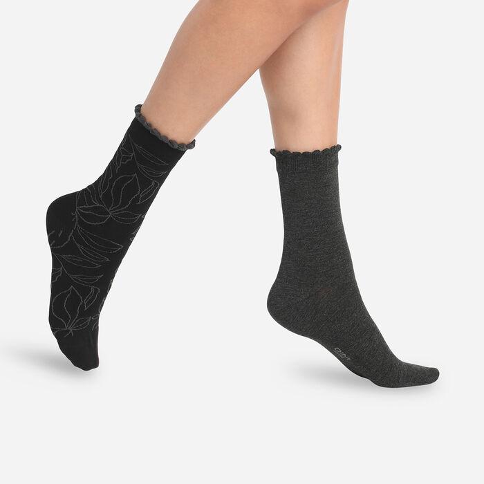 Lot de 2 paires de chaussettes femme feuilles XL Anthracite Dim Bambou, , DIM
