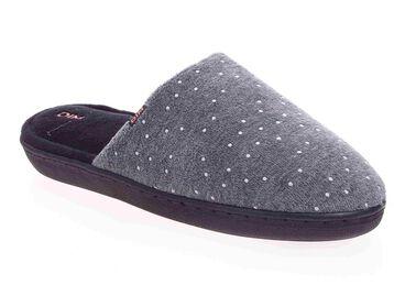 Chaussons type pantoufles noirs et gris Femme-DIM