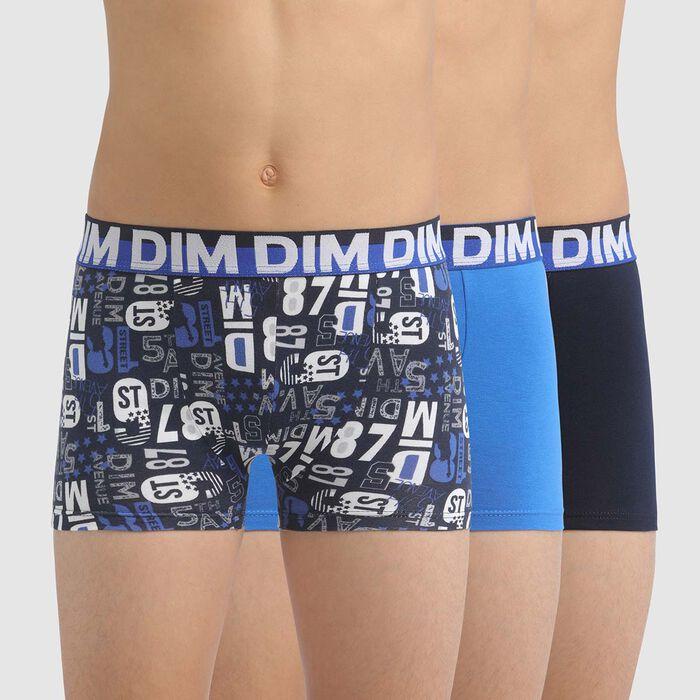 Lot de 3 boxers garçon en coton stretch avec motifs chiffres Bleu Dim, , DIM