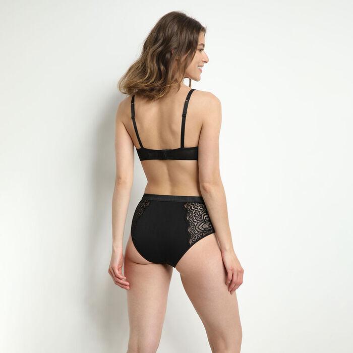 Culotte taille haute en microfibre et dentelle Noir Jolie Madame, , DIM