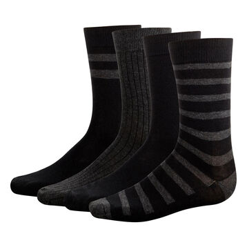 Lot 4 paires mi-chaussettes Noir et gris Anthracite pour homme Eco Dim, , DIM