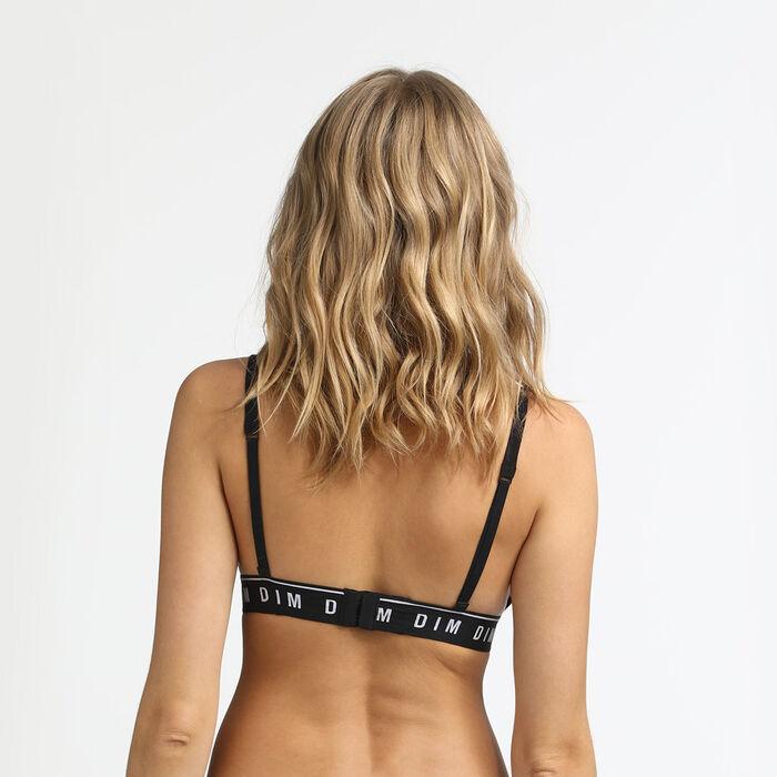 Soutien-gorge triangle sans armatures en coton noir Originals Cotton, , DIM
