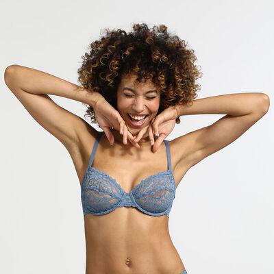 Soutien-gorge femme bleu antique Blooming Lace Dim, , DIM