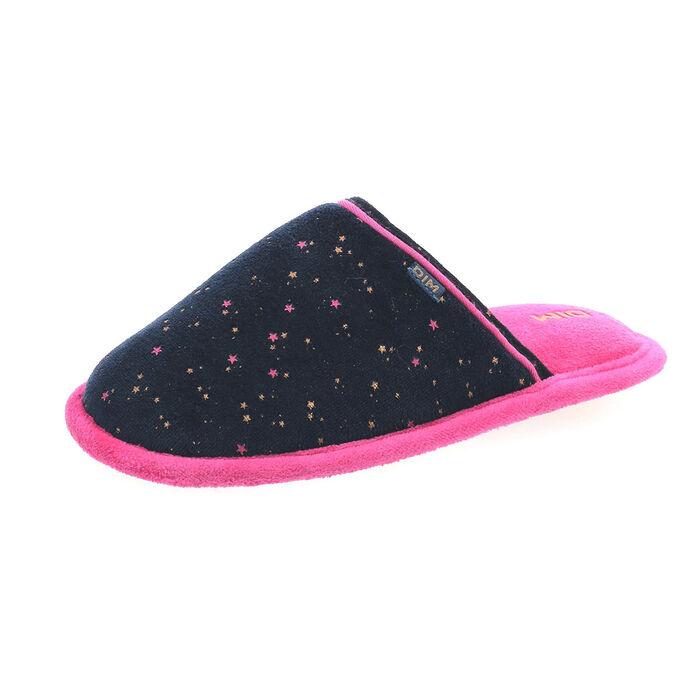 Chaussons type pantoufles bleu marine et rose en velours Fille, , DIM