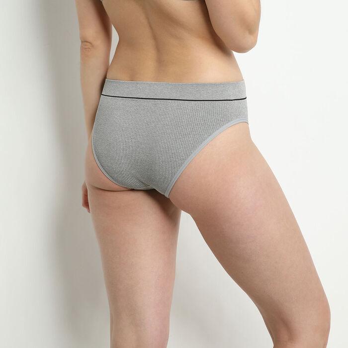 Culotte taille haute en maille côtelée Gris Chiné Dim Original Retro, , DIM
