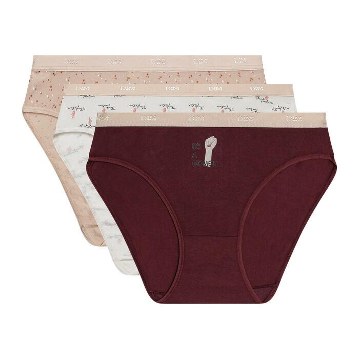 Lot de 3 slips femme en coton stretch à messages féminins Les Pockets, , DIM
