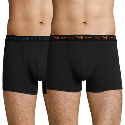 Lot de 2 boxers Noirs avec ceintures contrastées Coton Stretch, , DIM
