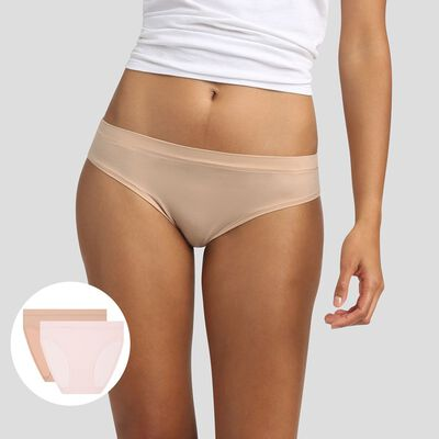 Lot de 2 culottes invisibles Body Mouv Beige et Rose, , DIM