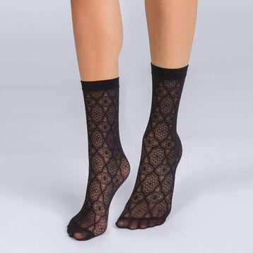Socquettes plumetis mosaïques noir Femme Les Fantaisies -DIM