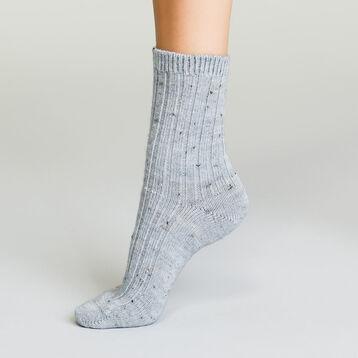 Mi-chaussettes en laine pour femme Gris Clair Chiné Effet Tweed , , DIM