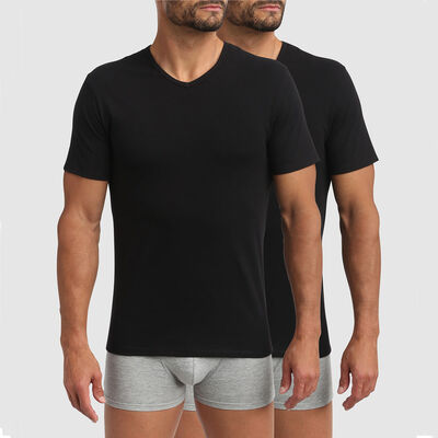 Lot de 2 t-shirts col V thermorégulation active noir XTemp Dim, , DIM