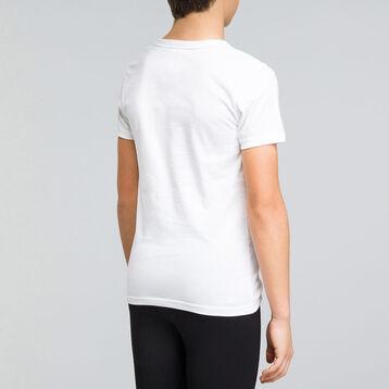 Tee-Shirt manches courtes blanc garçon en coton col V - Dynamic, , DIM