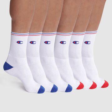 Lot de 6 chaussettes blanches côtelées logo - Champion Performance, , DIM