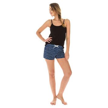 Short de pyjama bleu marine imprimé ananas Femme-DIM