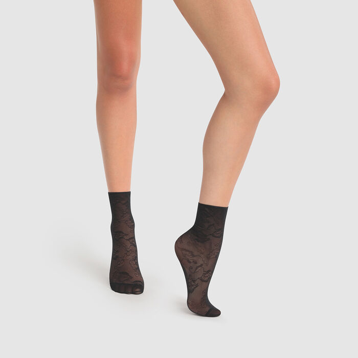 Socquettes fantaisie noires motif dentelle anémone Dim Style 35D, , DIM