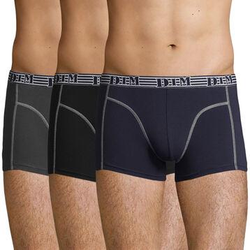 Lot de 3 boxers noirs et gris Fashion 2.0, , DIM