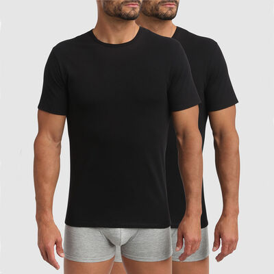 Lot de 2 t-shirts col rond thermorégulation active noir XTemp Dim, , DIM