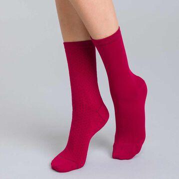 Lot de 2 chaussettes bordeaux en coton plumetis Femme-DIM ada18151a4c