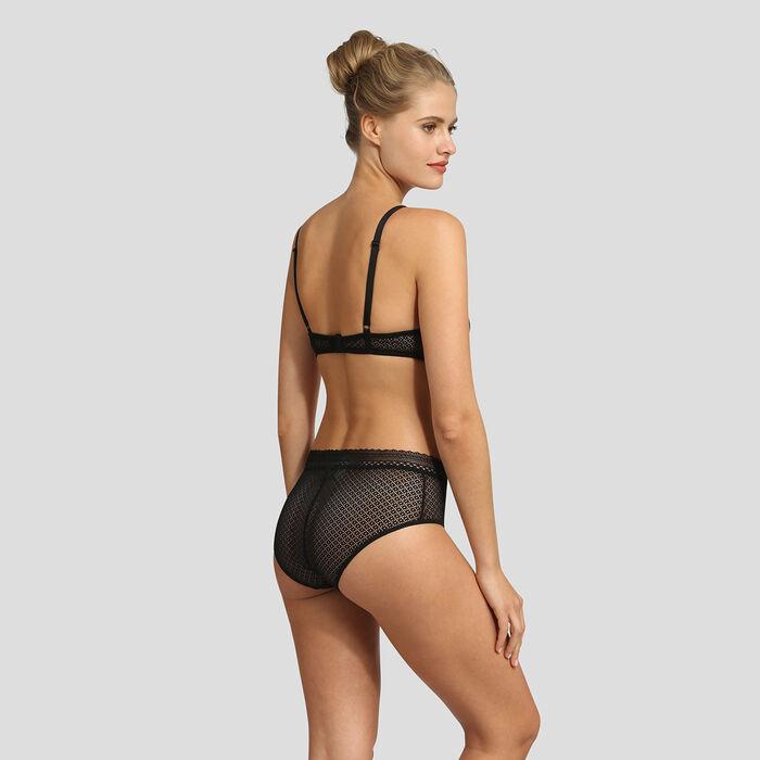 Culotte noire taille haute en dentelle Résille Chic de Dim, , DIM