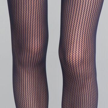 Collant résille à rayures bleu marine 73D - DIM Style, , DIM
