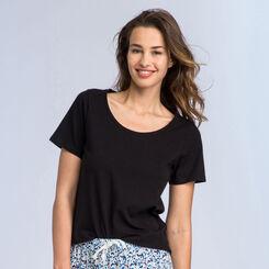 T-shirt noir à manches courtes Soft & Cool Femme-DIM