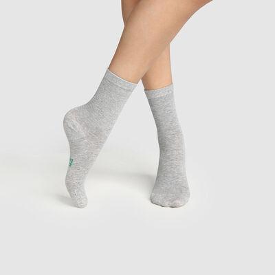 Lot de 2 paires de chaussettes femme en coton bio Gris Green by Dim, , DIM