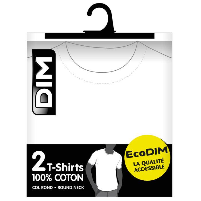 Lot de 2 t-shirts blancs col rond 100% coton EcoDIM, , DIM