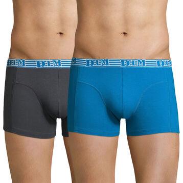 Lot de 2 boxers bleu azur et gris EcoDIM coton stretch-DIM
