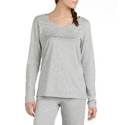 T-shirt de pyjama manches longues gris chiné Femme-DIM