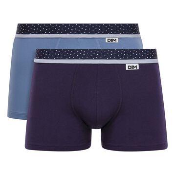 Lot de 2 Boxers Bleu Jean-Violet Velours et ceinture à pois Mix & Dots, , DIM