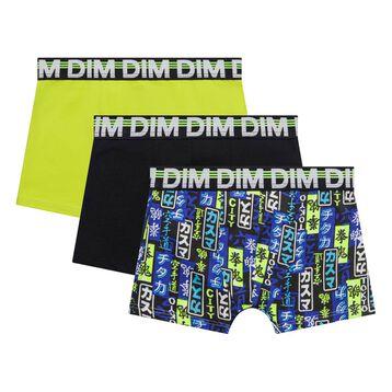 Lot de 3 boxers garçon noir, jaune et bleu imprimé - Trio DIM, , DIM