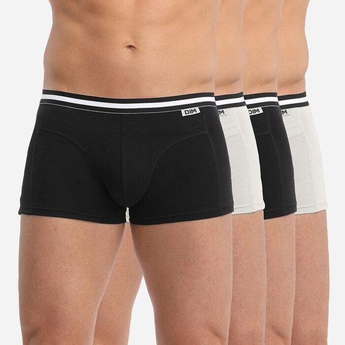 Lot de 4 boxers noirs et gris ECODIM Coton, , DIM