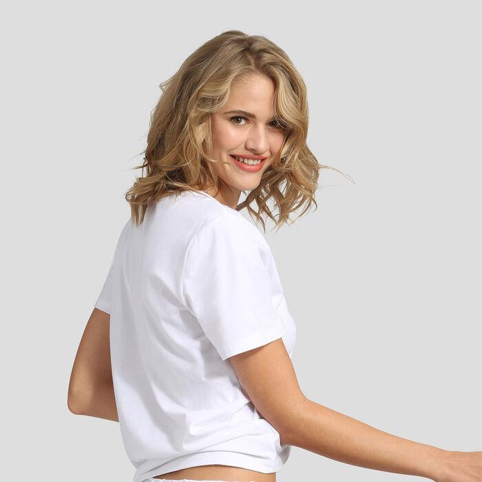 T-shirt en coton blanc broderie Pivoine Édition Fête des Mères, , DIM