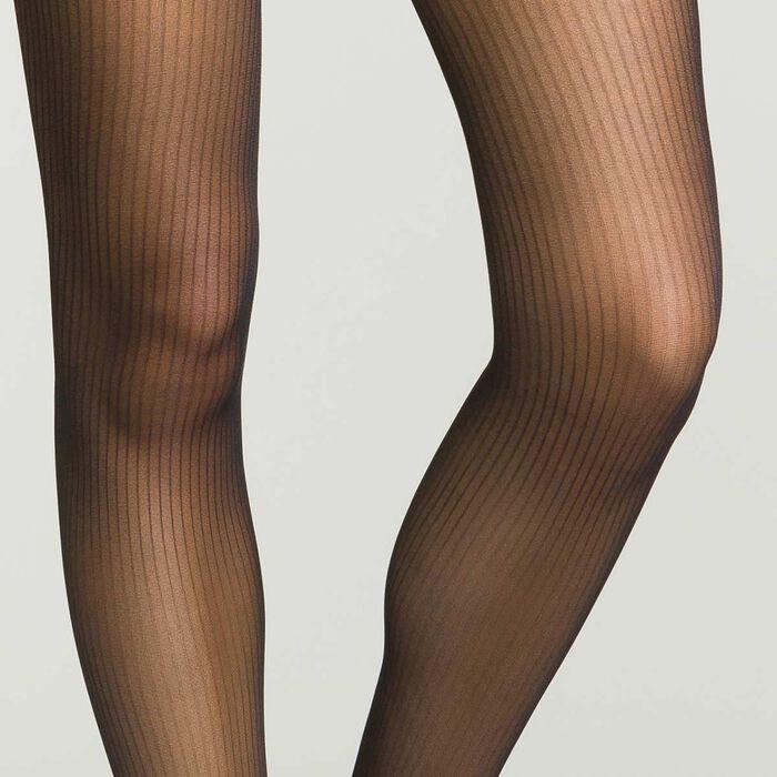 Collant noir pour femme à rayures semi-opaque , , DIM