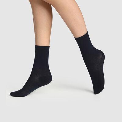 Lot de 2 paires de chaussettes femme en coton bio Bleu Green by Dim, , DIM