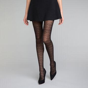 Collant fantaisie motif feuillage précieux noir 20D - DIM Style, , DIM