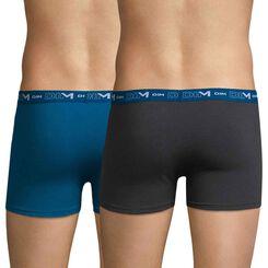 Lot de 2 boxers gris et bleu océan DIM Coton Stretch-DIM