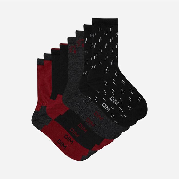 Lot de 4 paires de chaussettes femme en coton Noir Bourgogne Dim, , DIM