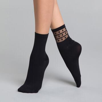 Lot de 2 paires de chaussettes Femme noires et détails pois - Dim Skin Fancy, , DIM